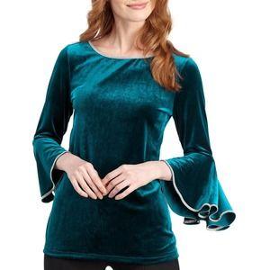 Embellished-Trim Velvet Bell-Sleeve Top